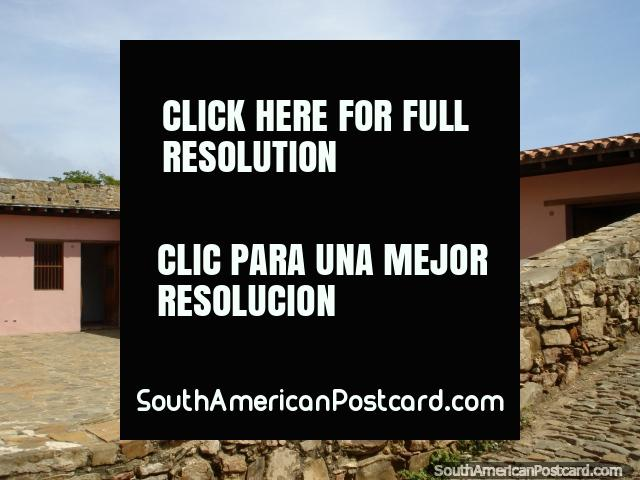 Pink rooms on ground level of Castillo San Carlos de Borromeo in Pampatar on Isla Margarita. (640x480px). Venezuela, South America.