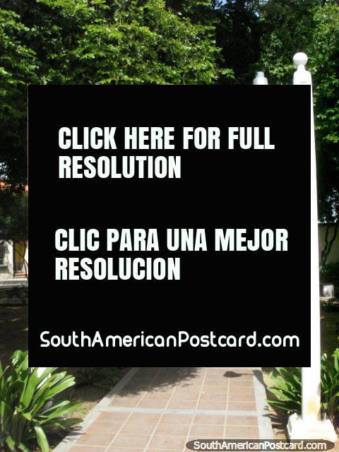 Parque sombreado atrás da praia em Pampatar, Ilha Margarita. (480x640px). Venezuela, América do Sul.
