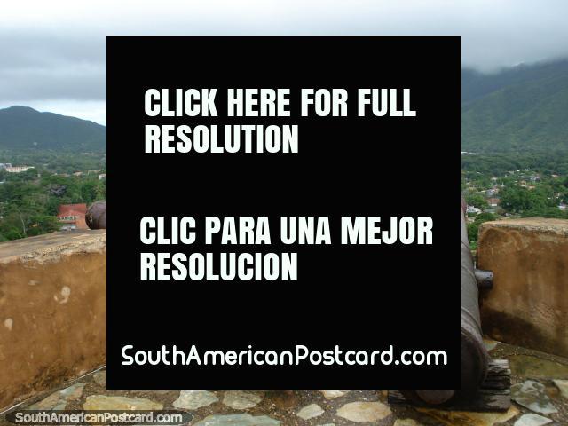 Cannon corner at Castillo Santa Rosa de la Eminencia castle and fort, La Asuncion, Isla Margarita. (640x480px). Venezuela, South America.