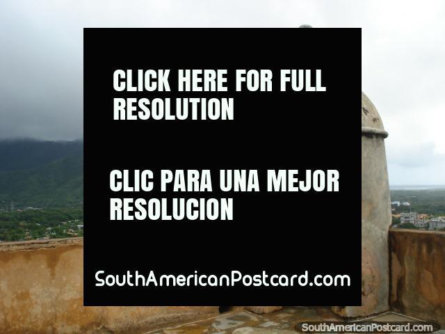 A bastion on the corner of castle Santa Rosa up on the hill in La Asuncion, Isla Margarita. (640x480px). Venezuela, South America.