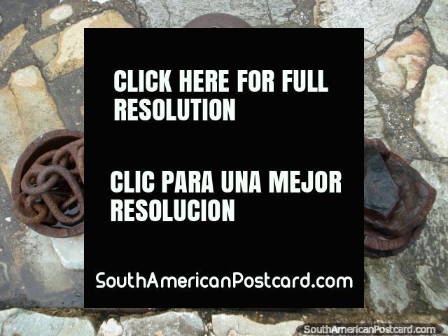 Cannonballs or ball and chains at Santa Rosa castle in La Asuncion, Isla Margarita. (640x480px). Venezuela, South America.