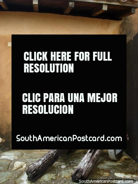 An old wooden cart possibly for a cannon at castle Santa Rosa in La Asuncion, Isla Margarita. (480x640px). Venezuela, South America.