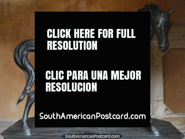 El caballo oscuro en un cuarto de inspección en la fortaleza del castillo en La Asuncion, Isla Margarita. (640x480px). Venezuela, Sudamerica.