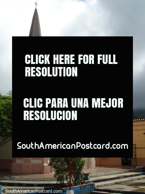 A pink church around La Asuncion, Isla Margarita. (480x640px). Venezuela, South America.