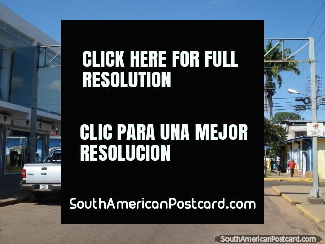 The main street in Santa Elena with palm trees. (640x480px). Venezuela, South America.