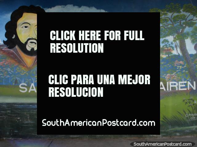 Welcome to Santa Elena, a mural of musician Ali Primera in the border town near Brazil. (640x480px). Venezuela, South America.