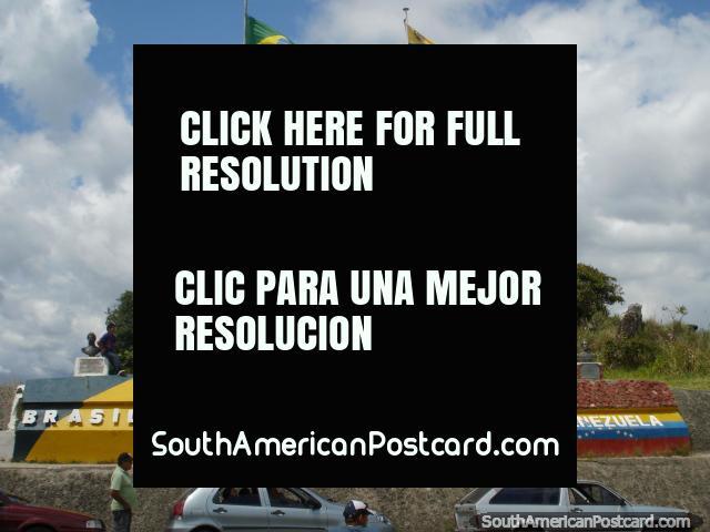 Flags and monuments on the border of Venezuela and Brazil near Santa Elena. (640x480px). Venezuela, South America.