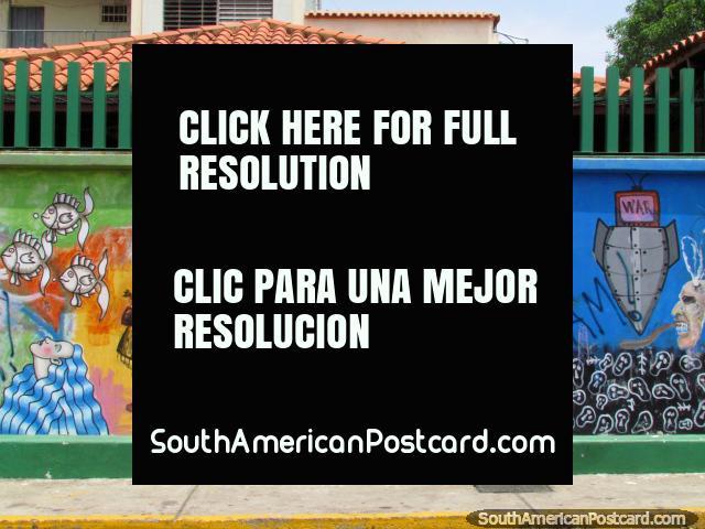 Murais abstratos incríveis ao redor da Rua Carabobo em Maracaibo. (640x480px). Venezuela, América do Sul.