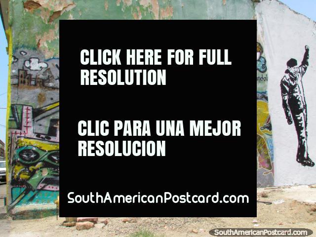 Arte de grafite em uma esquina de rua em Maracaibo. (640x480px). Venezuela, América do Sul.