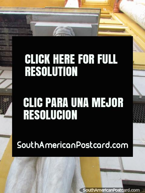 Statue on a building side looks down at Plaza Baralt, Maracaibo. (480x640px). Venezuela, South America.
