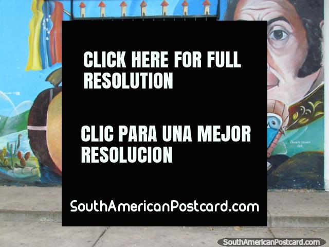 Simon Bolivar and guitar mural in Carora. (640x480px). Venezuela, South America.