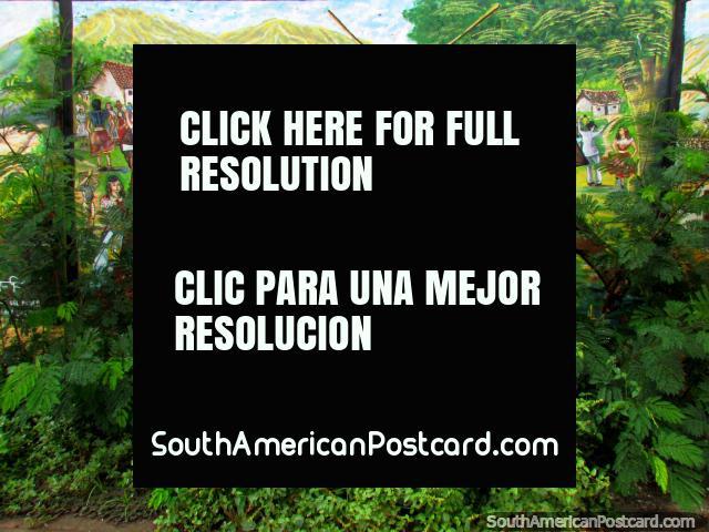 Mural of a village scene with 2 men fighting with walking sticks in El Tintorero. (640x480px). Venezuela, South America.
