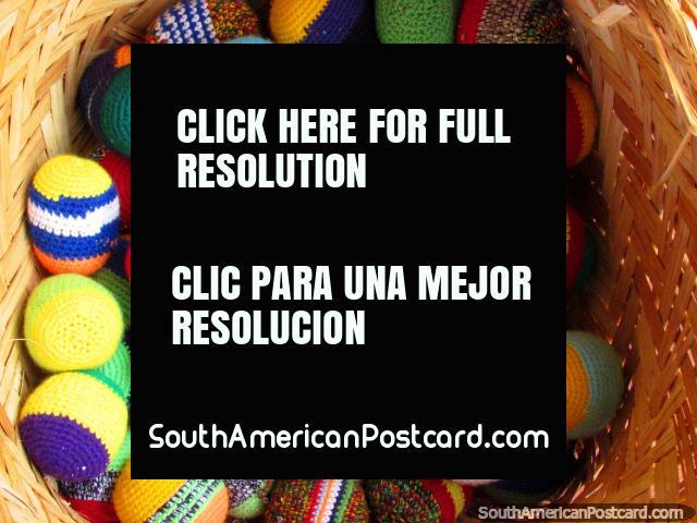 A basket of colorful hacky sacks in El Tintorero. (640x480px). Venezuela, South America.