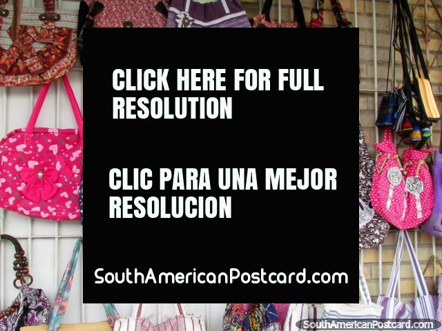Shoulder bags for sale at a shop in El Tintorero. (640x480px). Venezuela, South America.