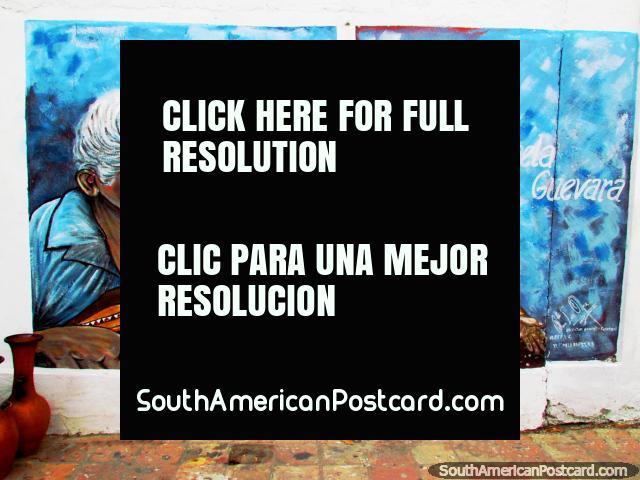 Wall mural in El Tintorero of guitarist Rosario Sequera and Angela Guevara. (640x480px). Venezuela, South America.