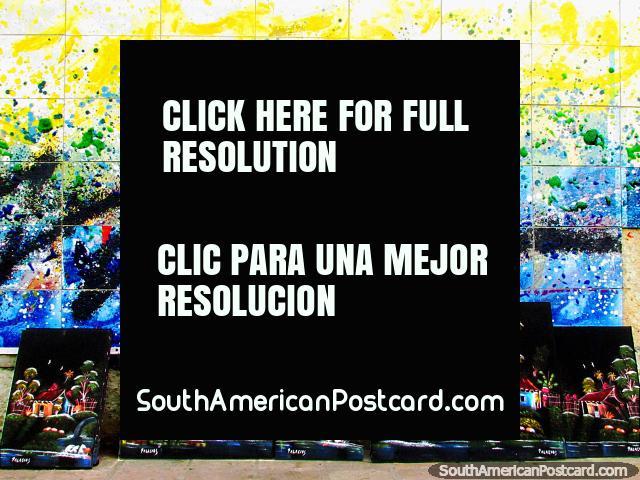 Oil paintings on black backgrounds in El Tintorero. (640x480px). Venezuela, South America.