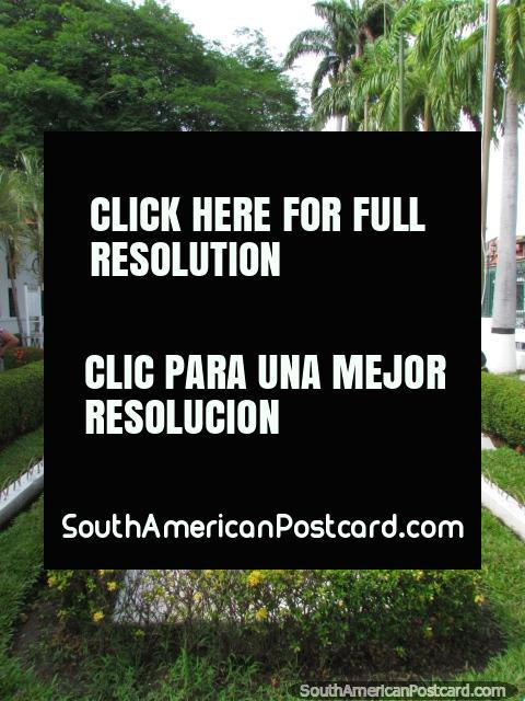 Nice gardens at the Legislative Palace in Ciudad Bolivar. (480x640px). Venezuela, South America.