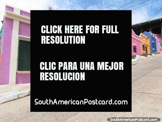 Purple, orange, pink and blue houses in Ciudad Bolivar. (640x480px). Venezuela, South America.