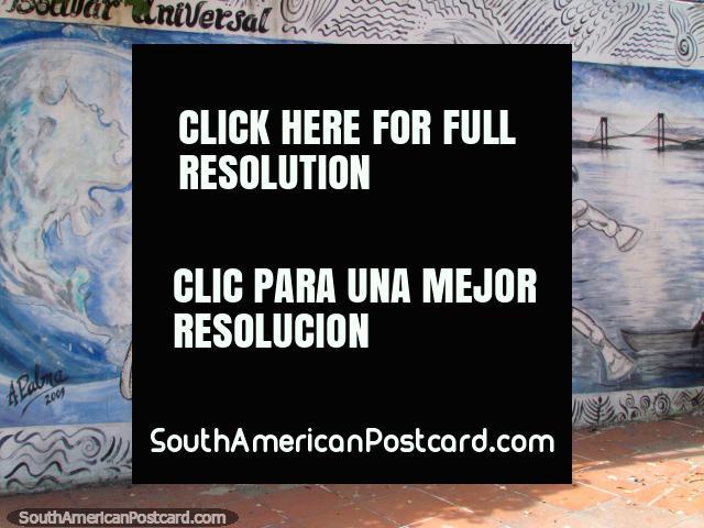 Mural de Simon Bolivar com cavalo branco e ponte em Cidade Bolivar. (640x480px). Venezuela, América do Sul.