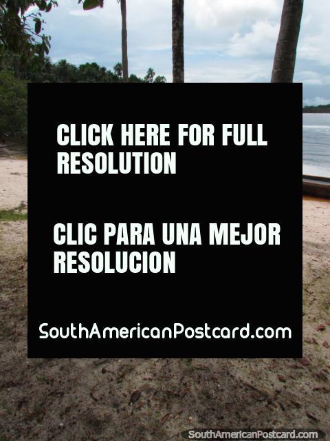 The beach and lagoon at Canaima. (480x640px). Venezuela, South America.