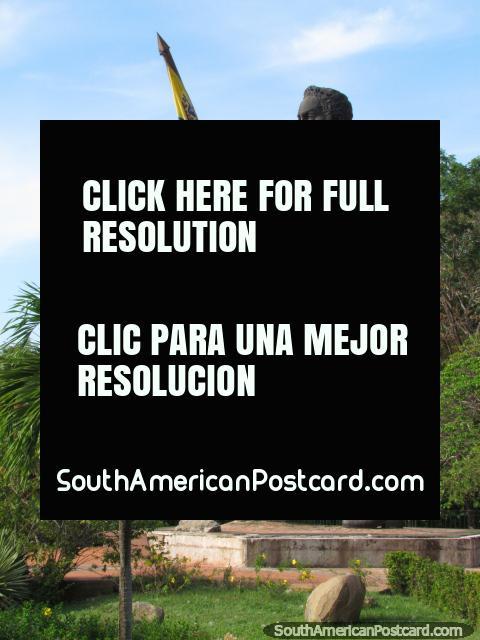 South America's biggest statue of Simon Bolivar in Ciudad Bolivar. (480x640px). Venezuela, South America.