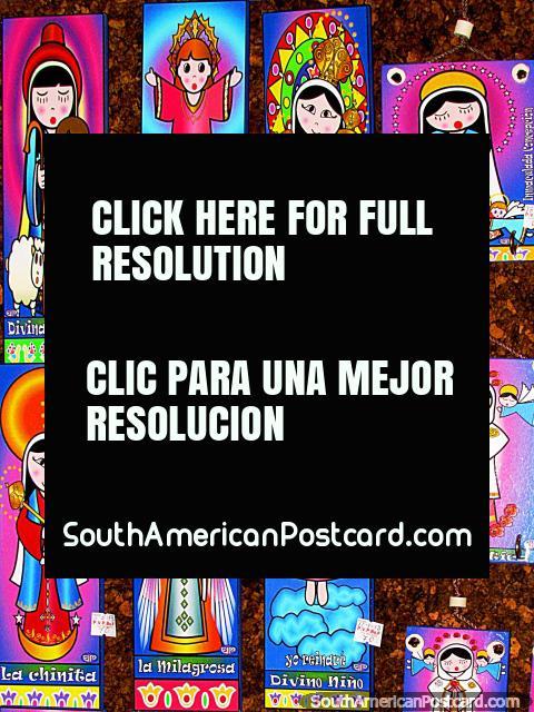 Colorful religious figures wall pictures, souvenir shop, Colonia Tovar. (480x640px). Venezuela, South America.