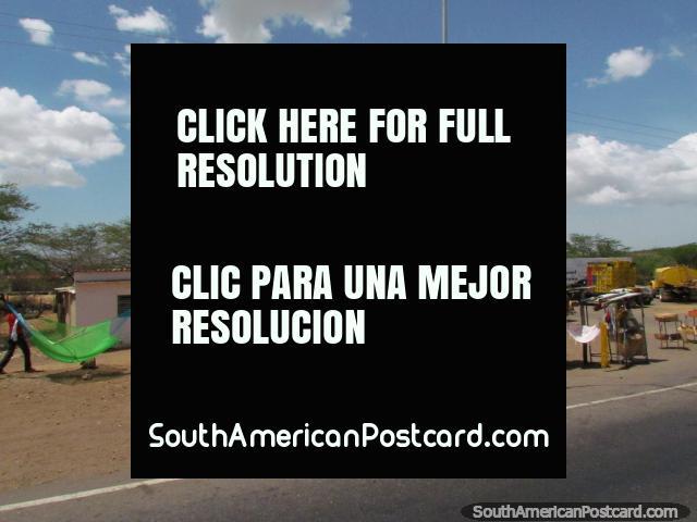 Hammocks for sale on the roadside between Dabajuro and Coro. (640x480px). Venezuela, South America.