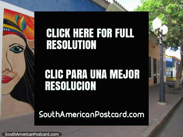 Native woman, sea and sunshine wall mural in Coro. (640x480px). Venezuela, South America.