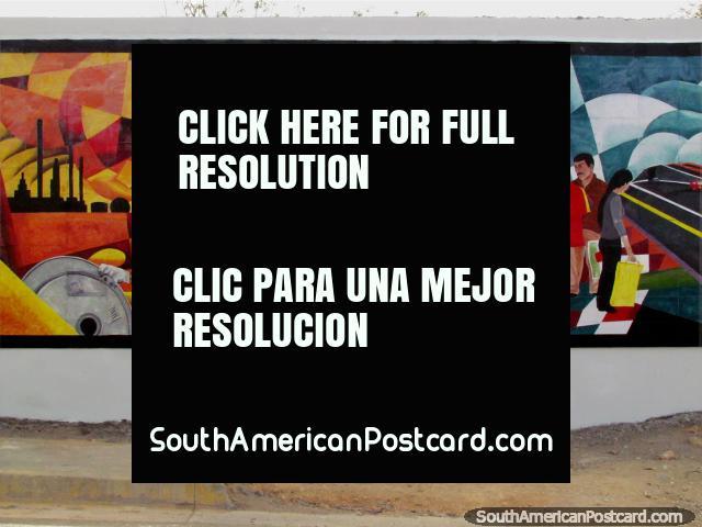 A nice mural depicting people working in Punto Fijo. (640x480px). Venezuela, South America.