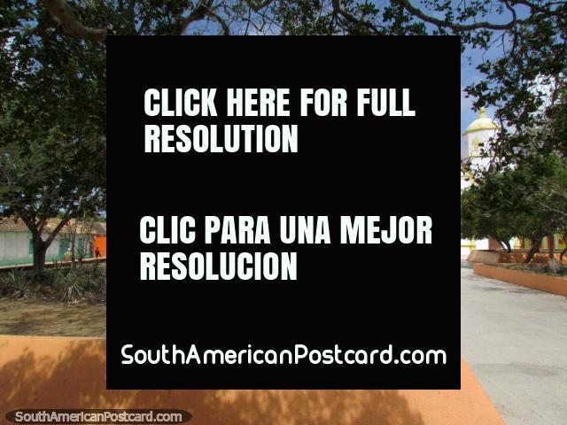 The plaza and church in Pueblo Nuevo. (640x480px). Venezuela, South America.