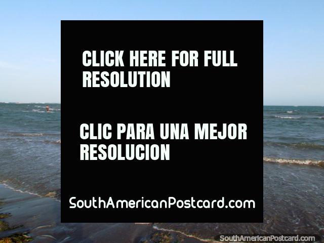 Kitesurfing off the south beach in Adicora. (640x480px). Venezuela, South America.