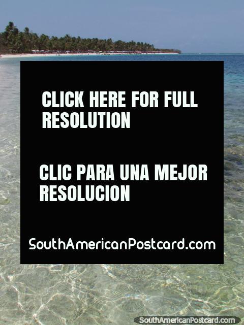 Mirando a través de las aguas limpias a la playa en Cajo Sombrero, Parque Nacional de Morrocoy. (480x640px). Venezuela, Sudamerica.