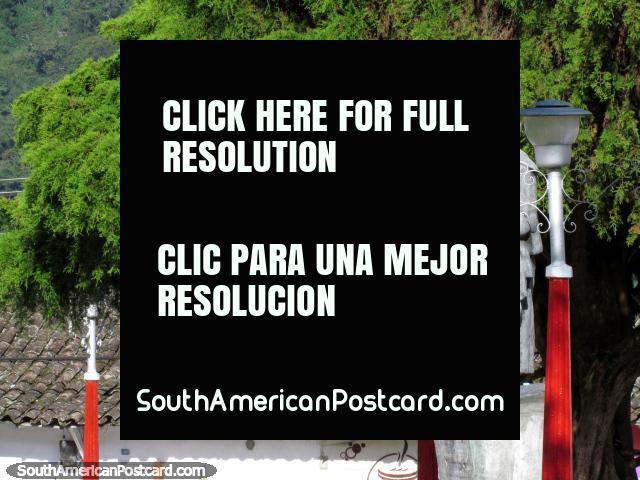A estátua e lâmpadas leves da praça pública em Santo Domingo. (640x480px). Venezuela, América do Sul.