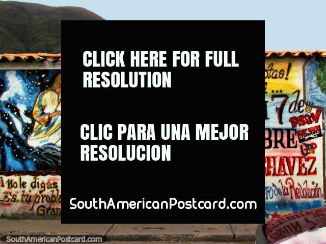 Mision 7 de Octubre - Viva Chavez, wall art in Mucuchies. (640x480px). Venezuela, South America.