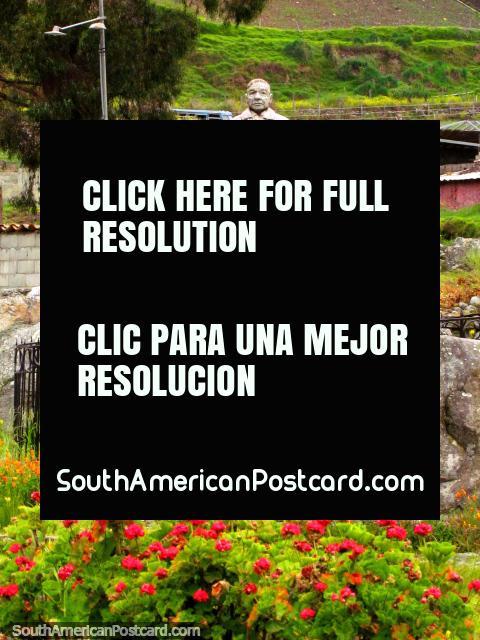 A stone statue of Jose Claudio Perez Rivas (1928-1999) in a plaza in Biguznos/Pedregal. (480x640px). Venezuela, South America.