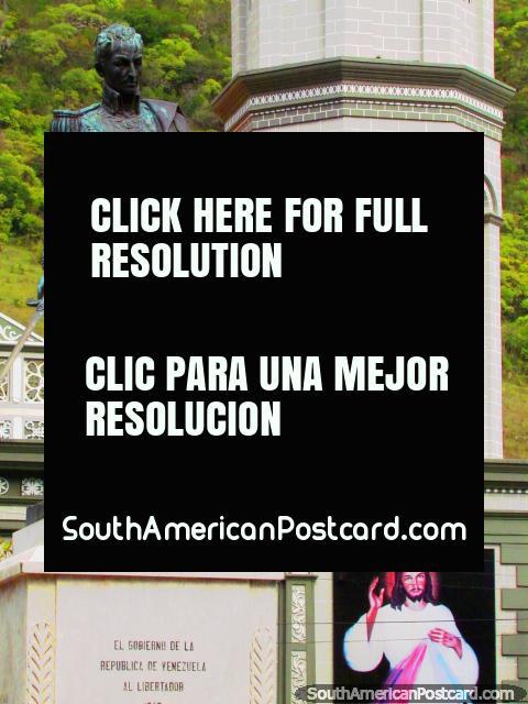 Simon Bolivar and Jesus, at the plaza in Timotes. (480x640px). Venezuela, South America.