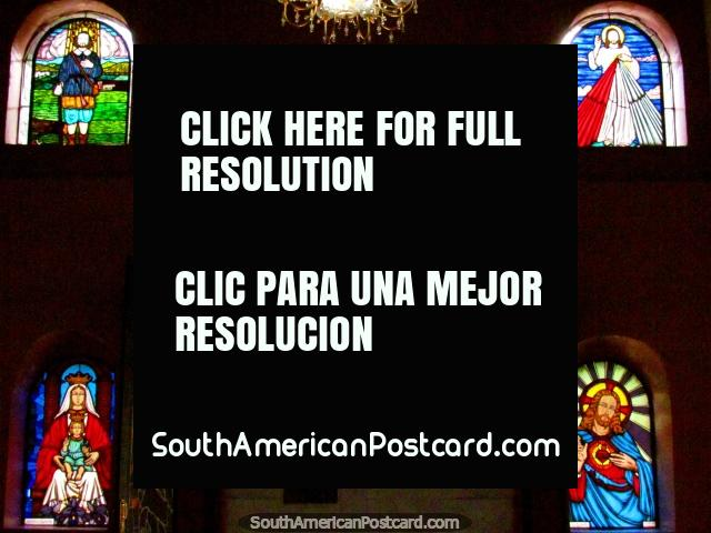 Jesus dressed up as Superman stained glass window at St. Benedict Chapel in Timotes. (640x480px). Venezuela, South America.