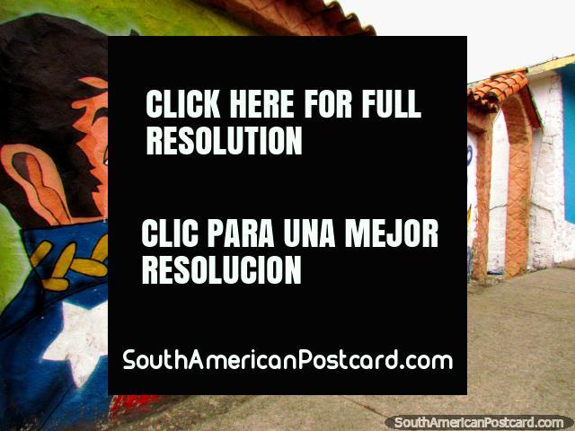 Wall mural of Simon Bolivar in Timotes. (640x480px). Venezuela, South America.