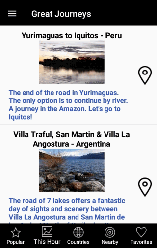 Categories of Places Screen - South America Journey Free App for Android and IOS