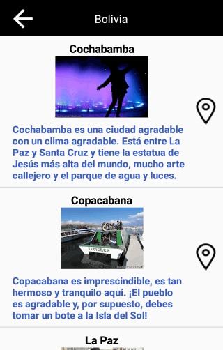 Pantallas de países y lugares - Viajes en Sudamérica aplicación gratis para Android y IOS