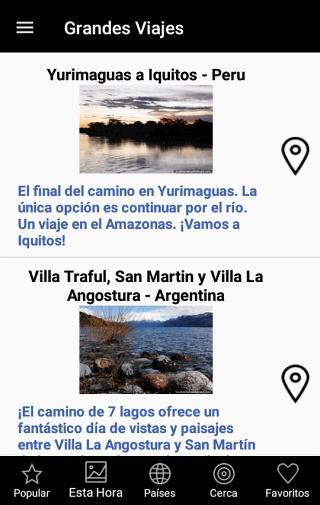 Categorías de pantalla de lugares - Viajes en Sudamérica aplicación gratis para Android y IOS